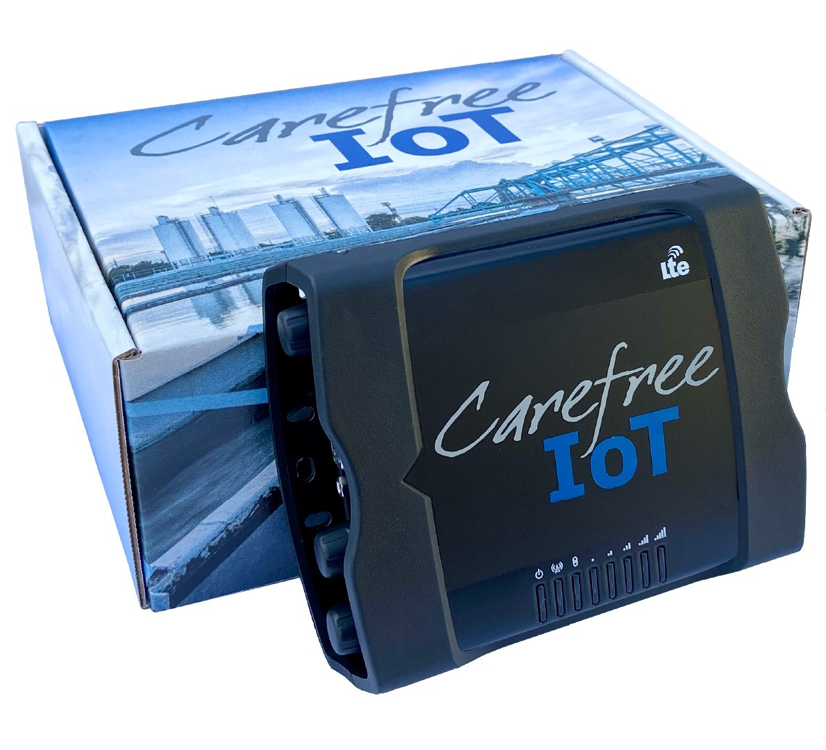 A photo of the CarefreeIoT device and its box.